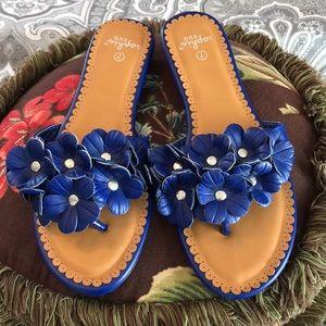 Floral Royal Blue Sandals